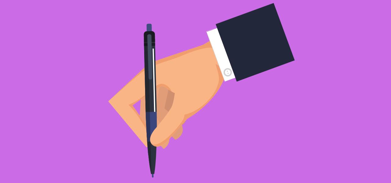Meglertekst skrives av en penn