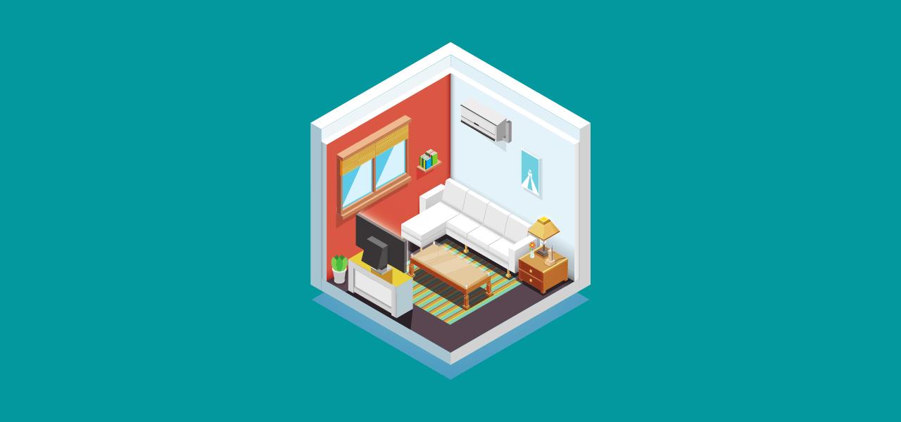 Møbler i et hus som vises digitalt