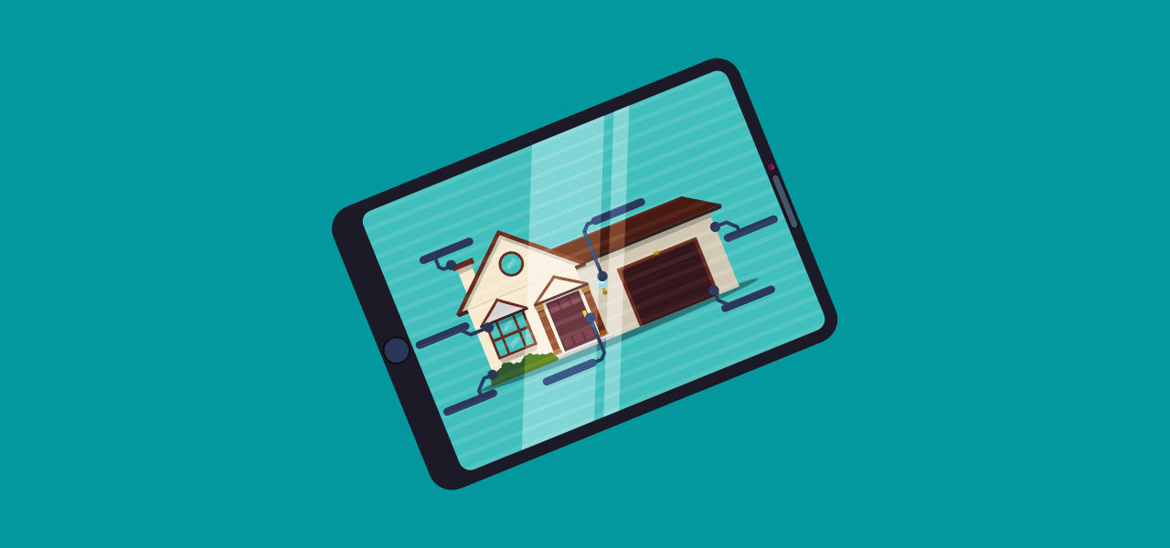 Bilde av et hus på en tablet med tekniske linjer