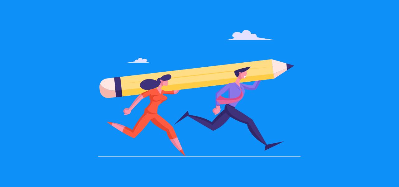 To personer som løper med en blyant på skulderen
